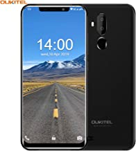 OUKITEL C12 Unlocked Smartphone Global 3G, 6.18''(19:9) Screen, 2GB +16GB, Android 8.1 OS, MT6580 Ouad-Core, 8MP+3MP Cameras, Dual Sim, Face Fingerprint Recognition Unlocked Cell Phones- Black