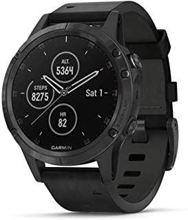 Garmin Fenix 5 Plus, Premium Multisport GPS Smartwatch, Features Color TOPO Maps, Heart Rate Monitoring, Music and Garmin Pay, Black with Leather Band