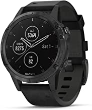 Garmin fēnix 5 Plus, Premium Multisport GPS Smartwatch, Features Color Topo Maps, Heart Rate Monitoring, Music and Pay, Black with Leather Band