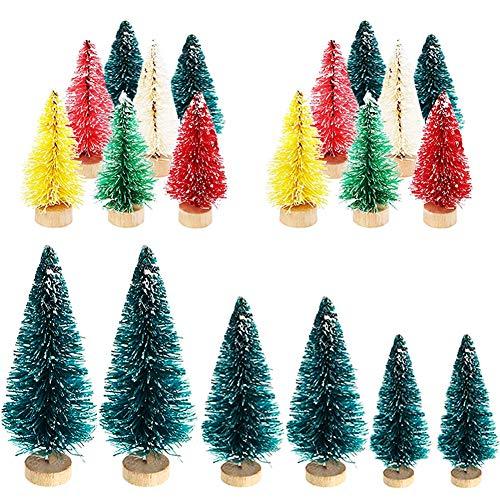 SUNSK Mini Árbol de Navidad Artificial Árbol de Navidad Pequeño Navidad Pino con Bases de Madera Ornamentos Navideños Decoración de Mesa de Manualidades 20 Piezas