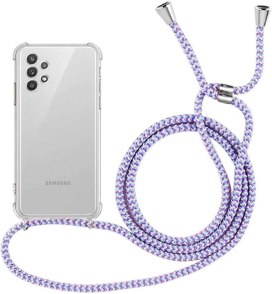 E-Lush Carcasa Ultra Delgado Flexible Gel TPU Goma Case con Correa Colgante Cover para Samsung A32 5G Gris Oscuro Carcasa con Cuerda para Samsung Galaxy A32 5G Funda Silicona Transparente