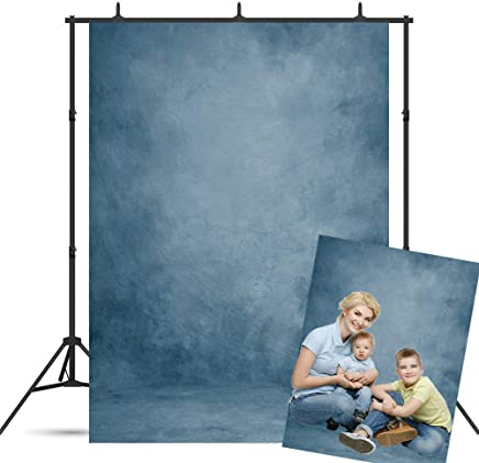 BoTong 5x7ft Abstract Blue Vinyl Portrait Backdrop Solid Color Photography Background Baby Headshots Photocall Adult Child Travel Family Newborns Party Decoration Studio Props BT-dn193-5x7FT