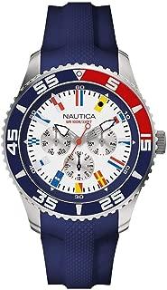 Nautica Men's 44mm Blue Rubber Band Steel Case Quartz White Dial Analog Watch NAPWHC005