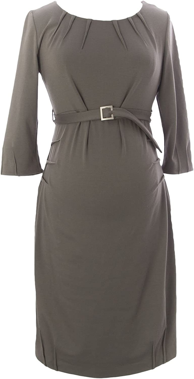 9FASHION Maternity Women's Belted Dress, Small, Taupe
