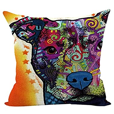 Sunward 2017 Dog Style Cotton Linen Canvas Decorative Square Throw Pillow Cover 18 x 18 (I)