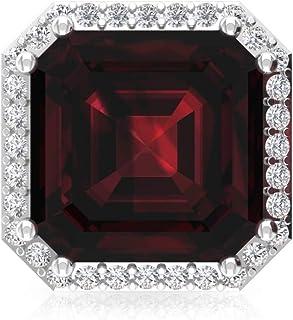 6 Ct Asscher Shape Garnet Stud Earring, Bridesmaid Statement Earring, IGI Certified Diamond Bridal Wedding Earring, IJ-SI Diamond Vintage Earring, Screw Back