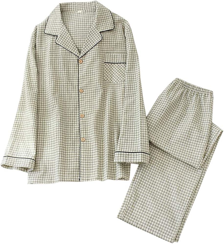 YFFUSHI Mens Cotton 2 Piece Pajamas Set Lightweight Plaid/Stripe Sleepwear Loungewear