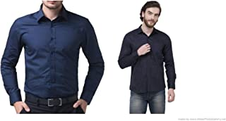 ZAKOD Combo of Plain and Polka Print Men's Cotton Shirts for Formal Use,Slim Fit Shirts,100% Pure Cotton Shirts,Available Sizes M=38,L=40,XL=42(Combo of 2)