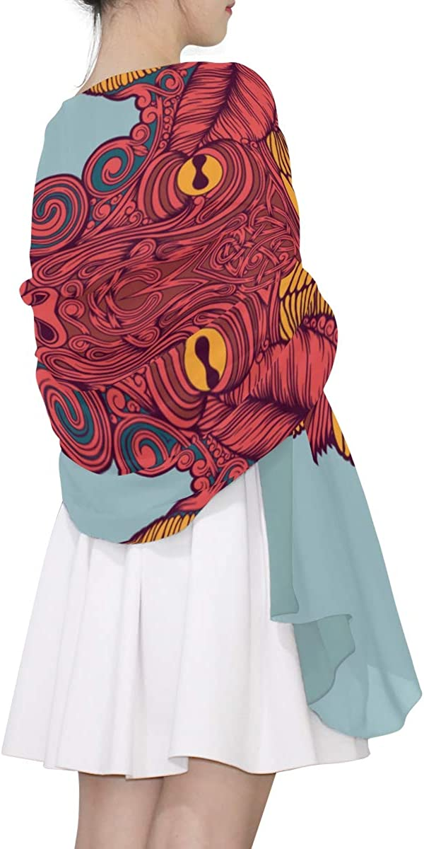 Sheep Skull And Flowers Unique Fashion Scarf For Women Lightweight Fashion Fall Winter Print Scarves Shawl Wraps Gifts For Early Spring