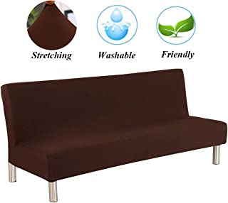 JIAN YA NA Sofa Slipcover Stretch Futon Sofa Bed Cover Full Folding Armless Cover Protector Polyester Elastic Fabric All-Inclusive Cover Solid Color (Coffee)