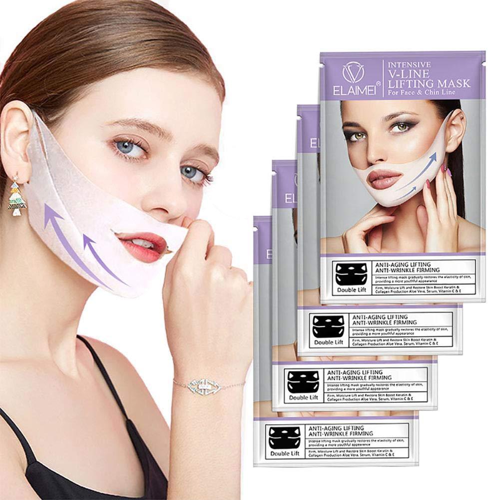 収束完全に教科書ユニセックスVラインマスク、フェイス&チンライン用4 PCSリフティングバンドパッチ、ダブルチンVフェイスチンアップファーミングマスク