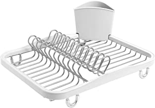 Umbra Sinkin Dish Drying Rack – Dish Drainer Kitchen Sink Caddy with Removable Cutlery Holder, Fits In Sink or on Countertop, White