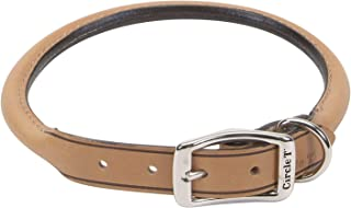 Coastal Pet Products DCP120516TAN Leather Circle T Oak Tanned Round Dog Collar, 16 by 5/8-Inch, Tan
