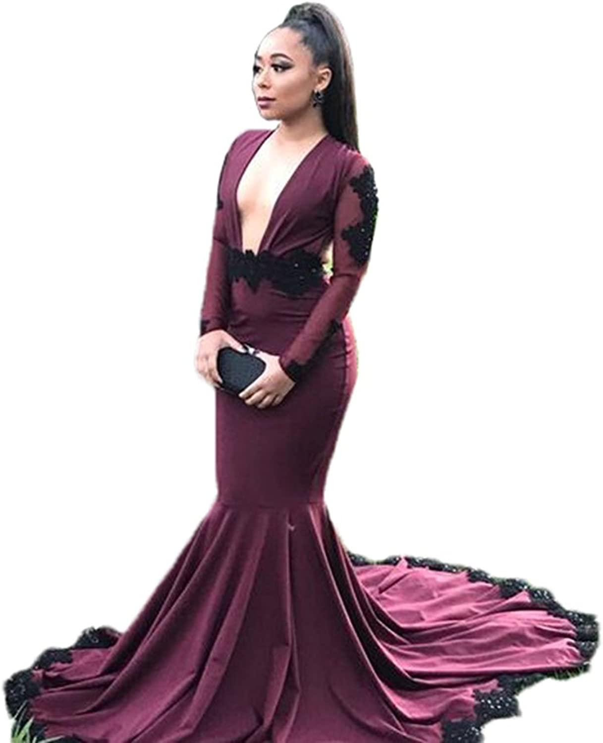 Allenqueen Women's Sexy Deep V Neck Prom Gown with Long Sleeve Backless Mermaid Evening Dress