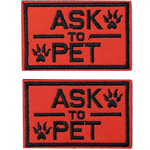 2 Pack Ask to Pet Dog Patches, Tags for Hook and Loop Patches Vests and Harnesses for Dogs, Orange