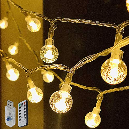 Globe Ball String Lights 33 FT 80 LED Crystal Bubble Ball Fairy String Lights Decor for Bedroom Patio Indoor Outdoor Party Wedding Christmas Tree Garden Lawn Landscape with 8 Mode Remote - Warm White