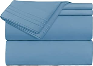 Clara Clark Premier 1800 Collection Deluxe Microfiber 3-Line Bed Sheet Set, California King, Blue Heaven