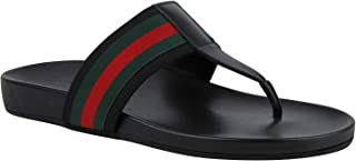 113cf8cf4674 Gucci Thong Sandals Black Leather Rubber with GRG Web Detail 386768 1069