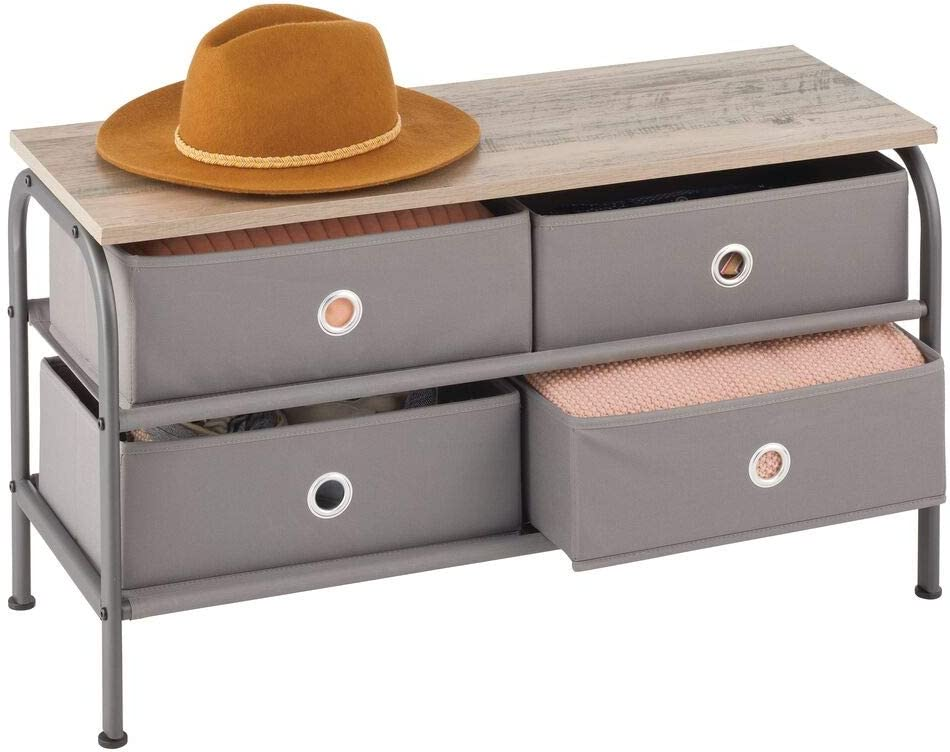 mDesign Storage Bench with Ranking TOP8 4 Bargain sale Drawers Wood Sturdy - Steel Frame