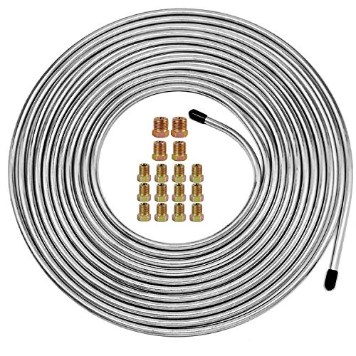Muhize 25 Ft. of 1/4 Brake Line Tubing Kit - Flexible Zinc-Coated Steel Tube Roll 25 ft 1/4' Rustproof, Corrosion Protection (Includes 16 Inverted Flare Fittings)