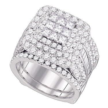 14kt White Gold Diamond Cluster Wedding Bridal Ring for Women Set 4.00 Cttw