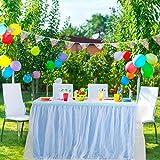 PiccoCasa - Falda de mesa de tul azul para mesas rectangulares de 2,7 m, para fiesta de cumpleaños, boda, decoración de mesa de tarta, falda de mesa de 76,2 x 274,3 cm