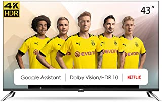"""CHiQ Televisor Smart TV LED 43"""", Resolución 4K UHD, HDR10/HLG, Android 9.0, WiFi, Bluetooth, Netflix, Prime Video, HDMI, A..."""