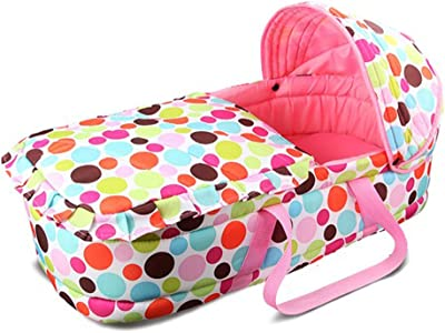 Olpchee Portable Baby Carrycot Baby Travel Bed Crib Infant Transporter Basket with Double Handle for 0-7 Months Babies (Pink)
