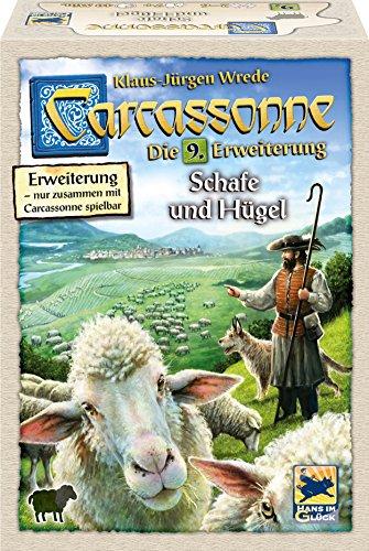 Hans im Glück 48265 Familienspiel Carcassonne-Schafe und Hügel Erweiterung 9, grün