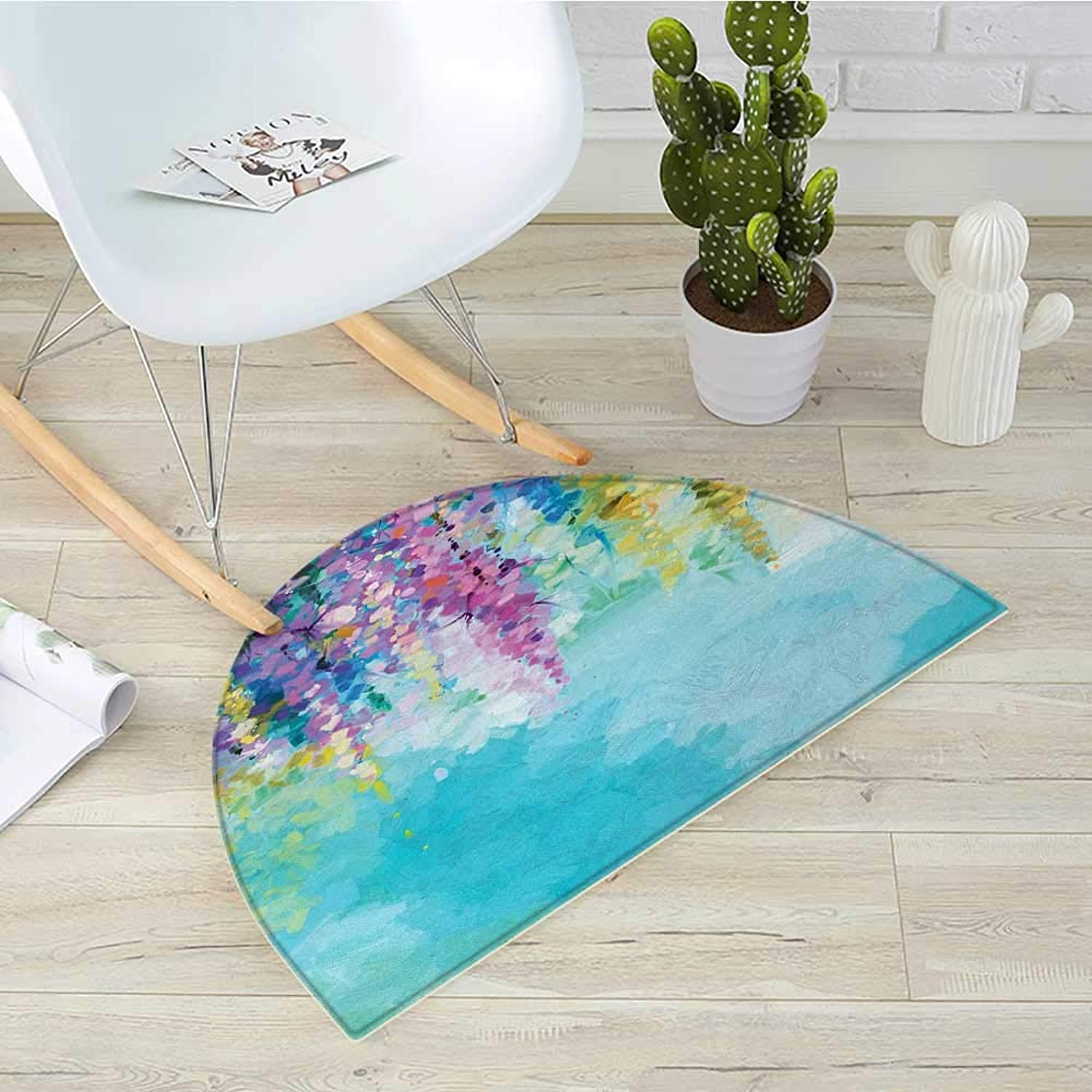 Flower Semicircular CushionAbstract Ivy Romantic and Inspiring Landscape Spring Floral Artwork Nature Theme Entry Door Mat H 27.5  xD 41.3  Multicolor