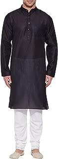 Emerald Black Silk Kurta for Men - Men's Indian Fashions - Polyester Dupion