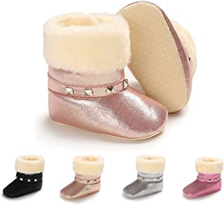 LAFEGEN Toddlers Boys Girls Boots Non-Slip Soft Warm Snow Booties Infant Toddlers PU Leather Crib Shoes Winter Plush Ankle Boots(0-18Months)