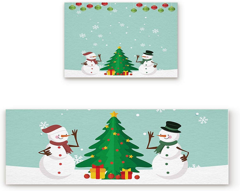 2 Piece Non-Slip Kitchen Mat Rubber Backing Doormat Runner Rug Set, Kids Area Rug Carpet Bedroom Rug Xmas Balls Snowman Trees Celebration Decor Winter WonderlThemed Snowflakes 19.7x31.5in+19.7x63in