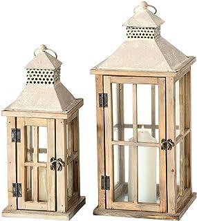Holzlaternen 2er Set Tannenholz Windlichter Kerzenhalter Höhe 40cm+55cm