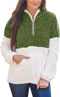 Plus Size Sherpa Pullover Womens Sweatshirt Half Zip Fuzzy Fleece Jacket Winter Coat Outwear with Pockets