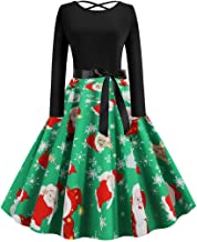 Kauneus Womens Cross Backless Sexy Elegant Party Gown Chic Bowknot Belt Long Sleeve Christmas Swing Cocktail Dress