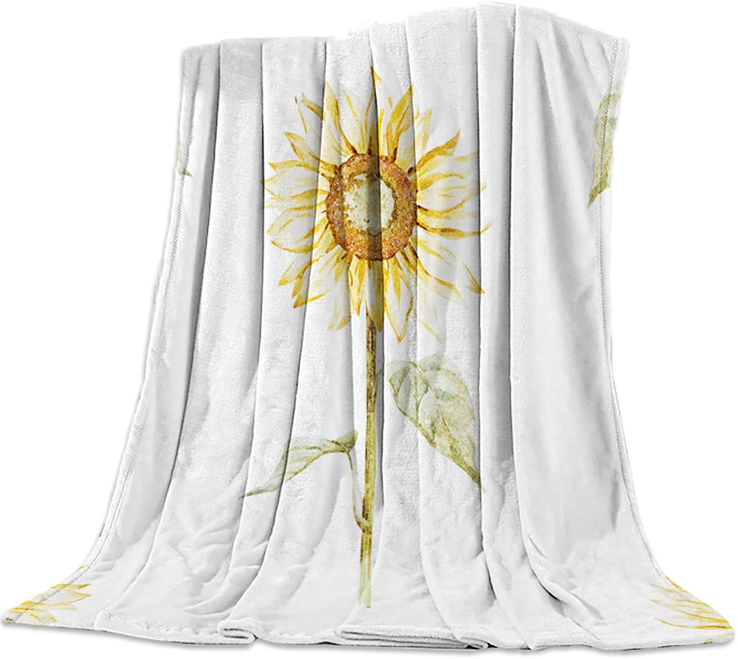 T&H Home Fuzzy Weighted Blanket Sunflower Blankets, Watercolor Floral Pattern Warm Flannel Throw Blanket for Baby Girls Boys Adult Home Office Sofa Chair Cars 40 x50