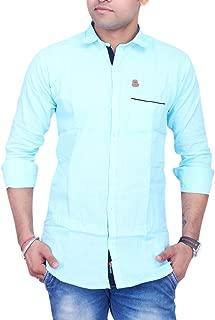 La Milano Men's Solid Shirt Sky Blue