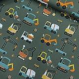 Stoff -Baumwollstoff Popeline - Baufahrzeuge Bagger - Kran