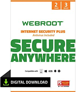 Webroot Internet Security Plus with Antivirus Protection Software   3 Device   2 Year Subscription   PC Download