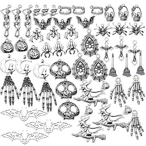 Aylifu Halloween-Thema Anhänger Charm, 100g(ca.55-60 STK) Fledermaus Vampir Schmuck-Charms Halloween Ghost Schädel Schmuckanhänger Metallanhänger zum Basteln für Armband Halskette