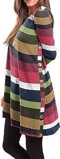 Women's Long Sleeve Scoop Neck Button Side Sweater Tunic...