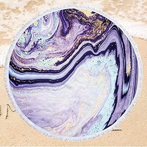 IAMZHL Toalla de Playa Redonda de Microfibra con Estampado de 150 cm Toalla de baño Suave para Nadar con Borla Toalla de Playa de Verano-a42-Diameter 150cm