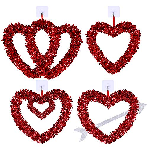 Winlyn Set of 4 Valentines Heart Wreaths Assortment Red Tinsel Foil Heart Shaped Wedding Wreaths...