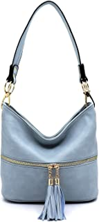"Vegan Faux Leather Bucket Shoulder Handbag Classic Purse""Medium-large"""