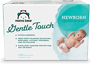 Amazon Brand - Mama Bear Gentle Touch Diapers, Hypoallergenic, Newborn, 120 Count (4 packs of 30)