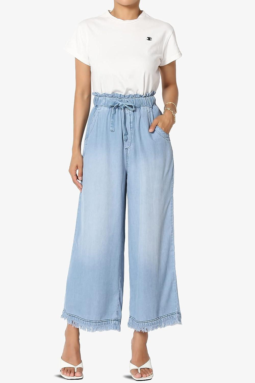 TheMogan Tencel Denim Pleated Wide Leg Palazzo Pants High Waisted Trousers