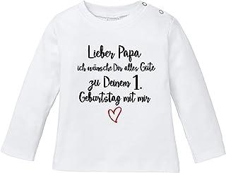 Ezyshirt Lieber Papa ich wünsche dir Alles Gute zum 1. Geburtstag mit Mir T-Shirt Langarm Baby Bio Baumwolle