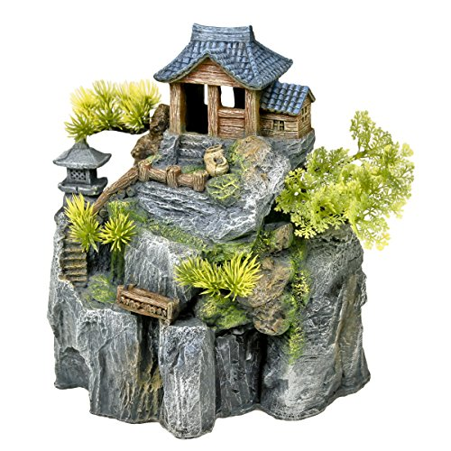 Exotic Environments Asian Cottage House with Bonsai Aquarium Ornament