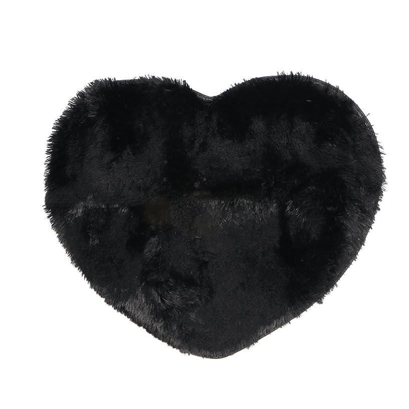 加速度肥料荒野ハートラブ カーペット ふわふわ ラグマット パッド クッション シンプル 優雅 - ブラック